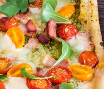 spoiltpig - Bacon recipe - Pesto bacon tomato tart
