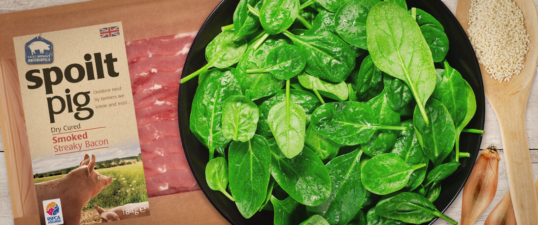 spoiltpig - Recipe header - Spinach bacon salad